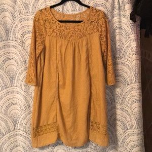 Mustard Color Dress with lace